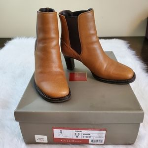 Cole Haan Sz 5.5 Darby Amber Leather Ankle Boots